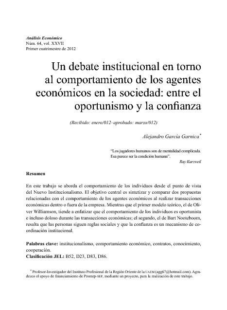 Un debate Institucional en Torno al Comportamiento de los...