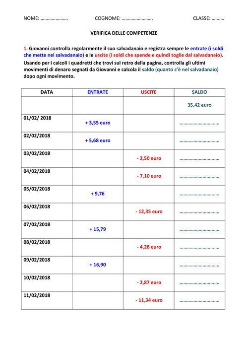 VERIFICA DELLE COMPETENZE add sott decimali