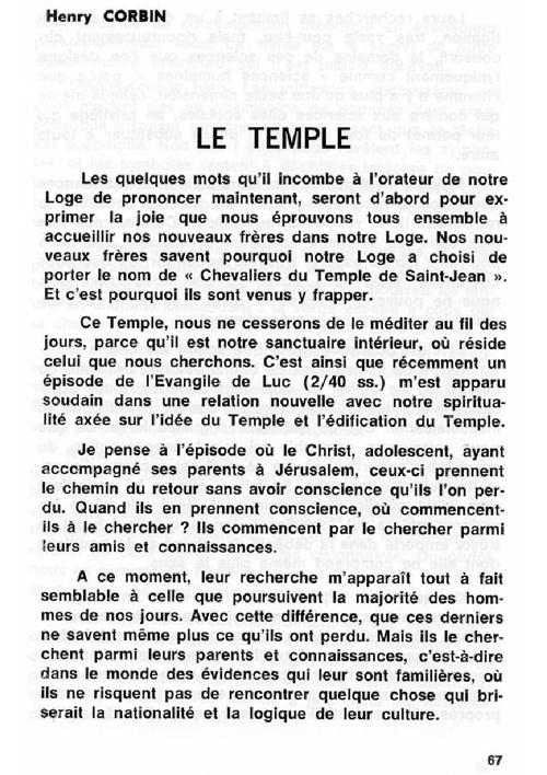 Corbin - Le Temple, Cahiers Verts