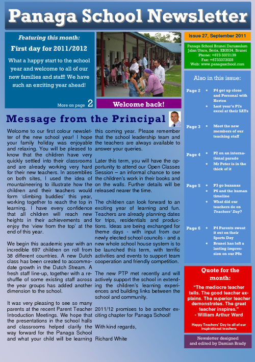 Panaga School Newsletter September 2011 Issue 27