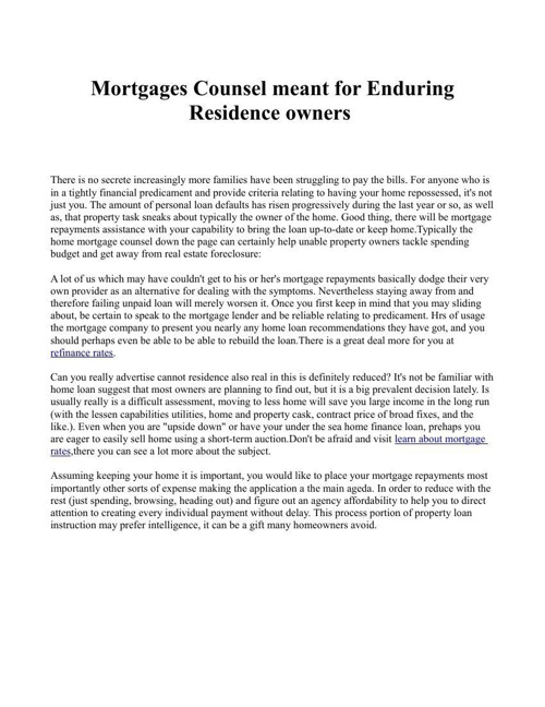 Mortgages Counsel meant for Enduring Residence owners
