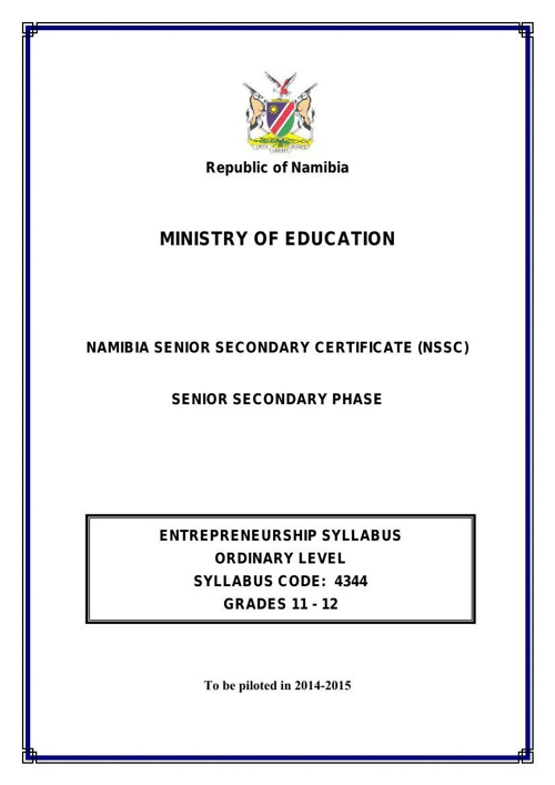 NSSCO Entrepreneurship Syllabus updated 19 September 2013