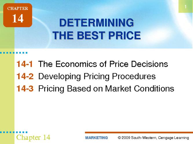 Determining the Best Price