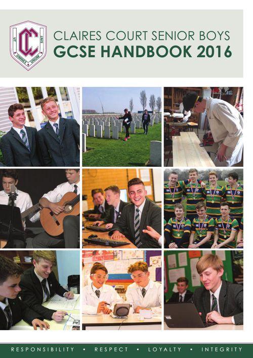Claires Court Senior Boys GCSE Handbook 2016