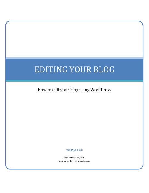 How To Edit Your Blog