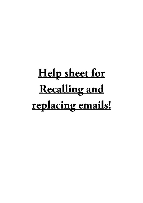 Recalling emails helpsheet