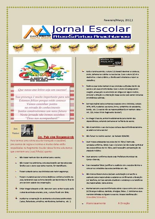1º Jornal On-line EM. Nazira Anache