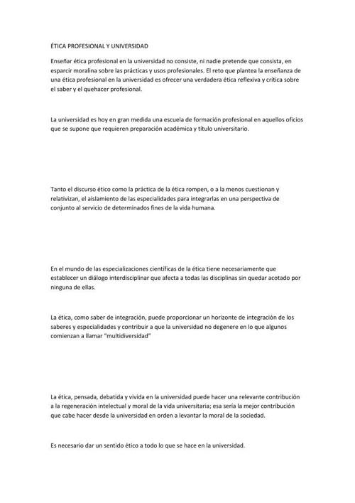 ÉTICA PROFESIONAL Y UNIVERSIDADresumen