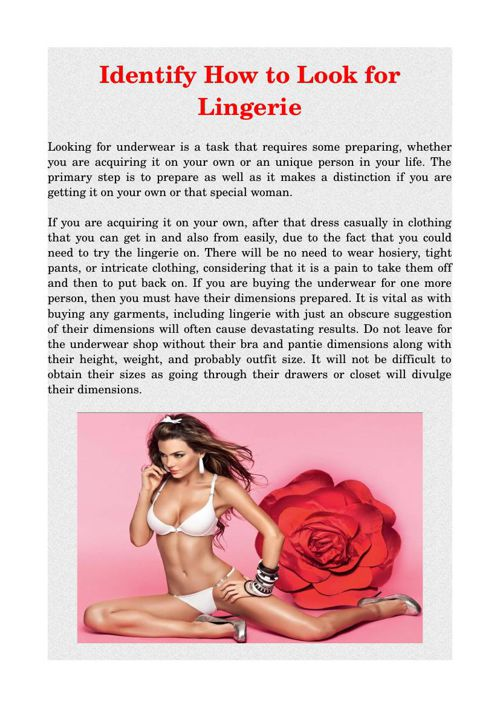 Identify How to Look for Lingerie