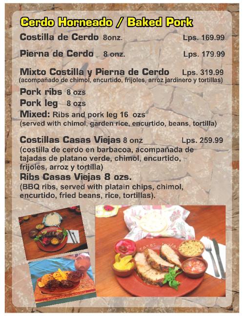 Menu - Restaurante Casas Viejas