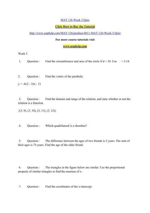 mat 126 week 3 quiz Ashford mat 126 week 3 quiz select language afrikaans albanian amharic arabic armenian azerbaijani basque belarusian bengali bosnian bulgarian catalan cebuano chichewa chinese (simplified.