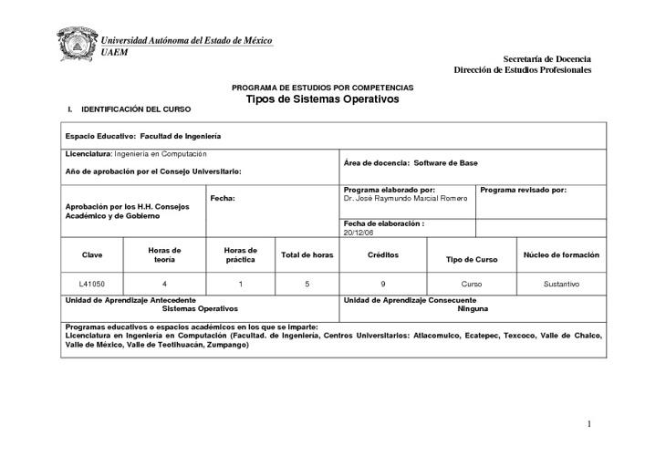 PROGRAMA TIPOS DE SISTEMAS OPERATIVOS