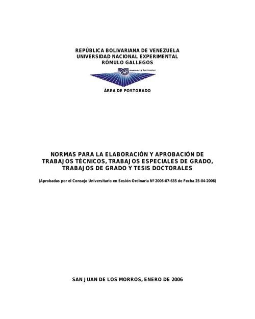 Normas para Presentar Trabajos de Grado y Tesis Doctorales (Actu
