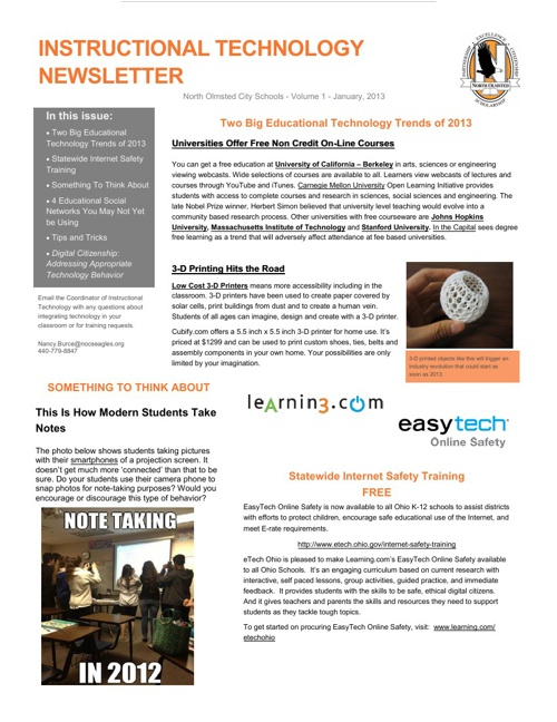 Instructional Technology Newsletter - January, 2013
