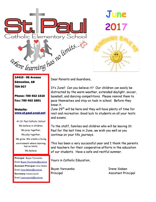 June 2017 St. Paul School Newsletter