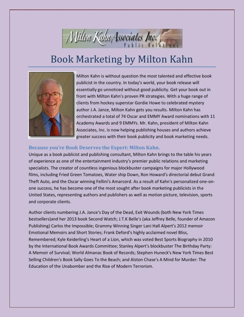 Book Marketing by Milton Kahn