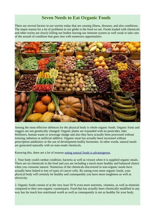 Seven Needs to Eat Organic Foods