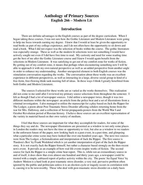 English Lit - Primary Source Anthology