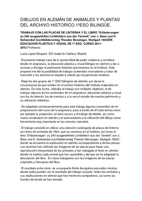 Proyecto Educación Plástica y Ciencias Naturales 1º ESO