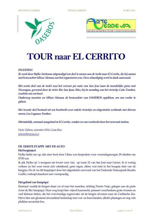 Tour naar EL CERRITO 29 oktober 2014