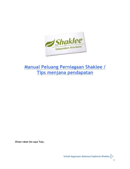 Shaklee Euphoria Biz Manual