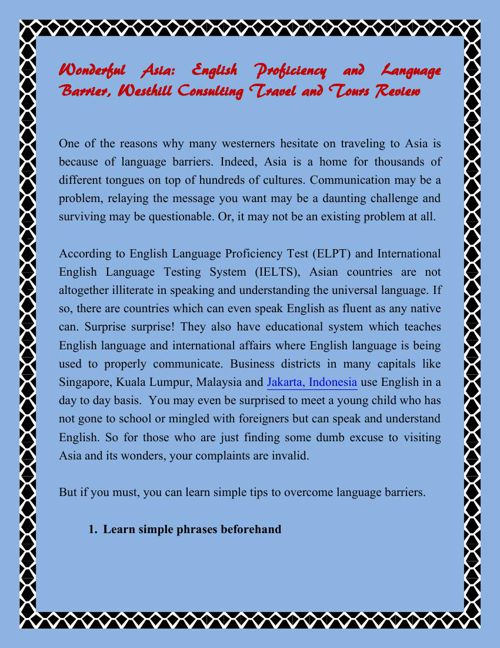 Wonderful Asia: English Proficiency and Language Barrier Westhil