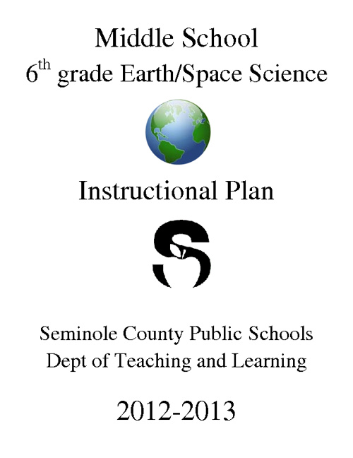 6th grade Earth/Space Science Instructional Plan
