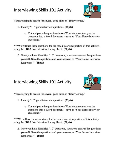 FBLA Activities 6 and 7