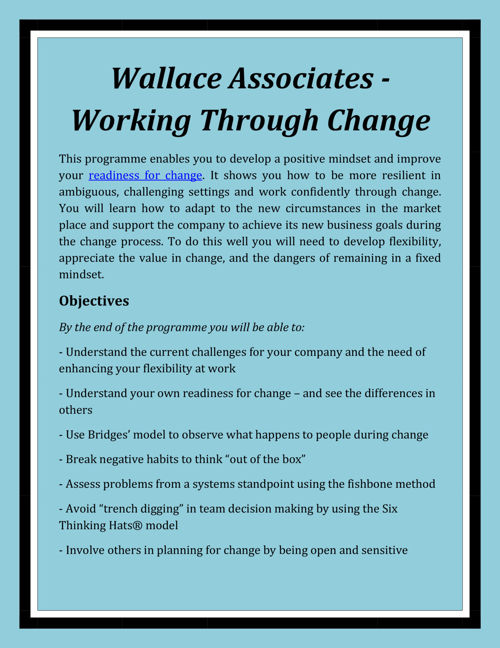 Wallace Associates - Working through Change