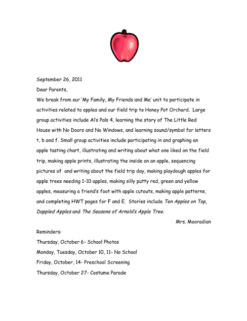 PreK September Newsletters