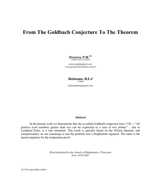 From The Goldbach Conjecture to The Theorem