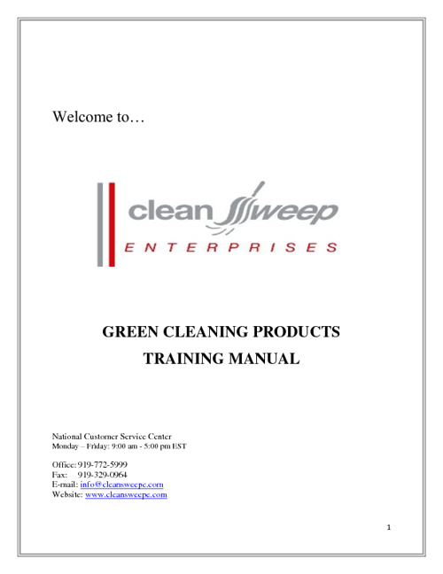 CSE Cleaning Solutions and Product Training Manual (English)