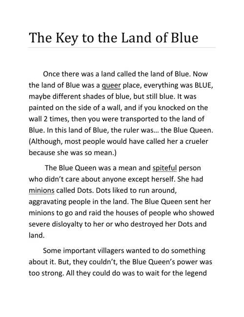 The Key to the Land of Blue