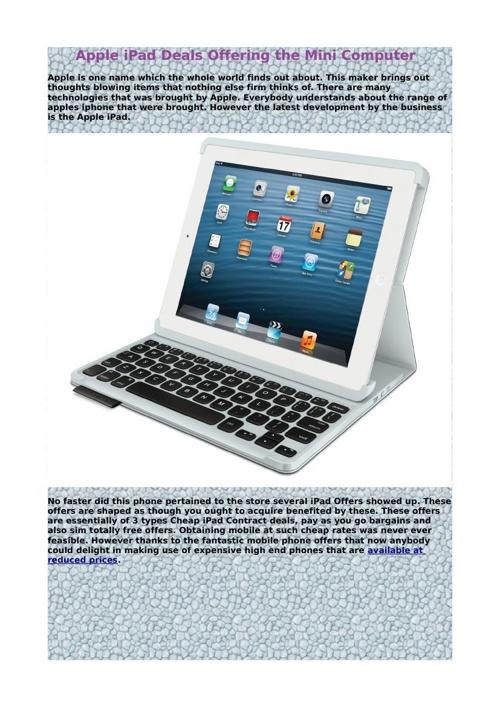 Apple iPad Deals Offering the Mini Computer