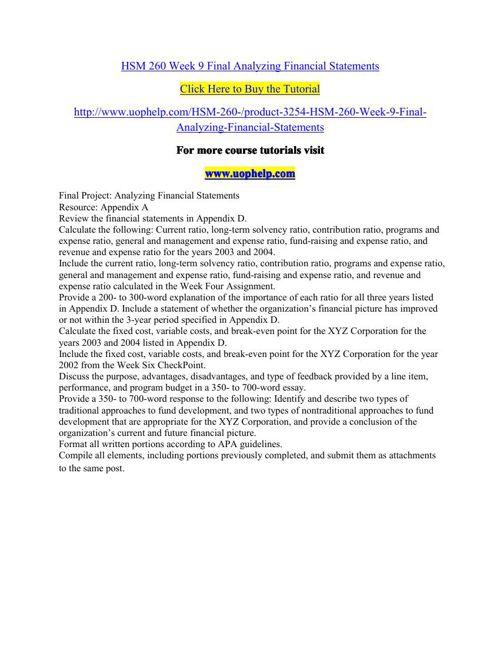 HSM 260 Week 9 Final Analyzing Financial Statements