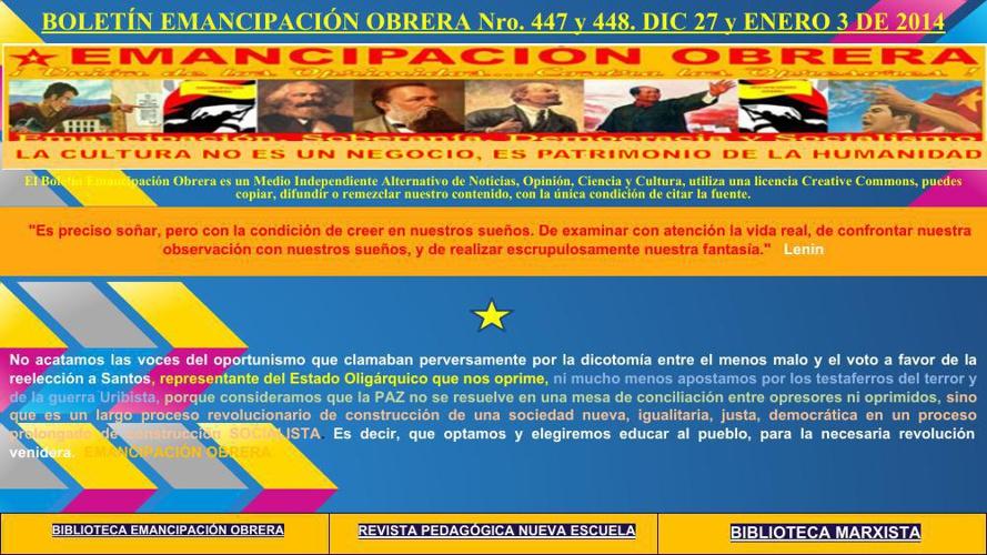 BOLETÍN EMANCIPACIÓN OBRERA Nro. 447 y  448