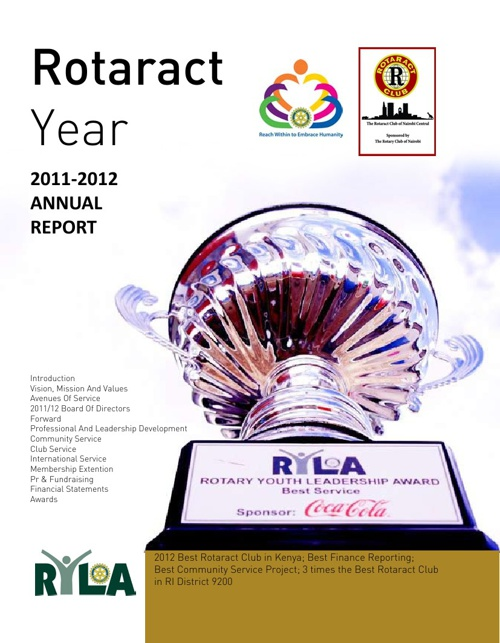 THE ROTARACT CLUB OF NAIROBI CENTRAL 2011/12 ANNUAL REPORT