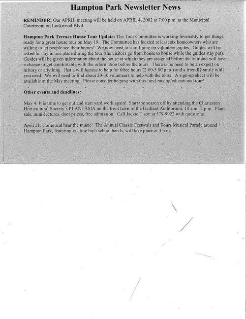 HPT Newsletter April 2002
