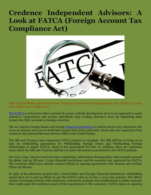 Credence Independent Advisors: A Look at FATCA (Foreign Account
