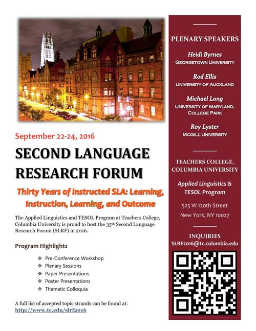 Second Language Research Forum 2016 Flyer