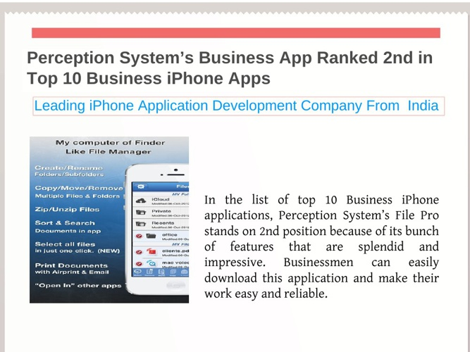 Perception System's Business App Ranked 2nd in Top 10 Business i