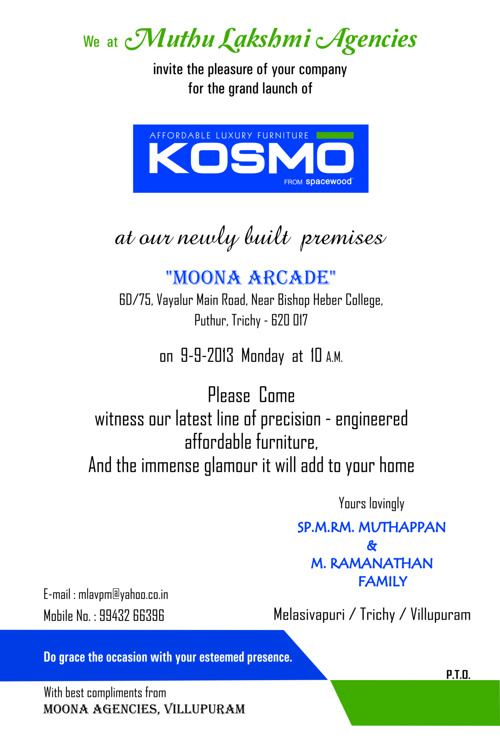 KOSMO New Showroom Invitation