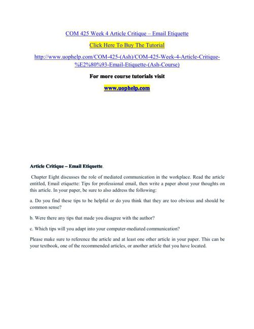 COM 425 Week 4 Article Critique
