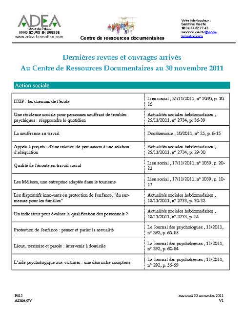 Dernières revues et ouvrages arrivés 30 novembre 2011