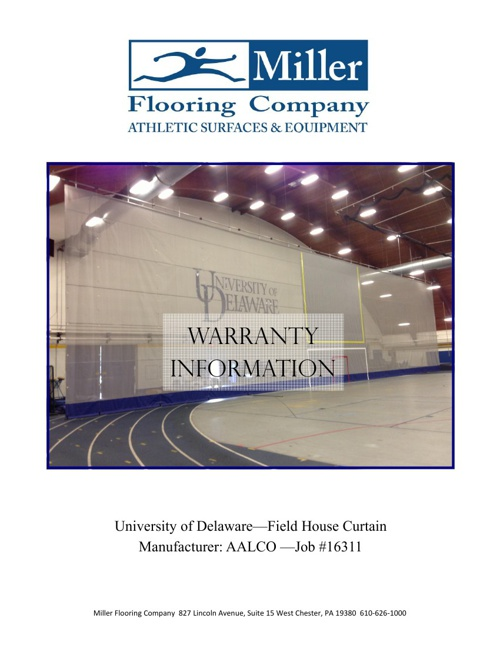 University of Delaware Warranty Packet-Field House Curtain