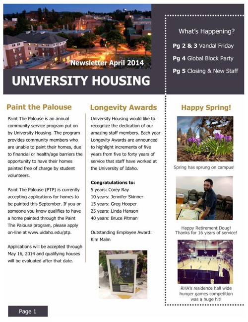 April Staff Newsletter