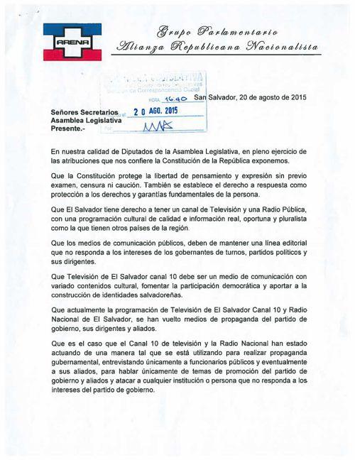 ARENA SOLICITA AL PLENO LEGISLATIVO CONVOCAR AL SECRETARIO D