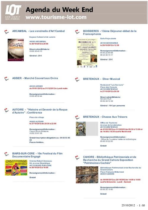 Lot Tourisme - Agenda du Week-End du 26 au 28 octobre 2012