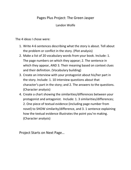 Pages Plus Historical Fiction Project Landon Wolfe
