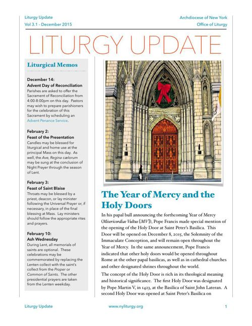 Liturgy Update December 2015